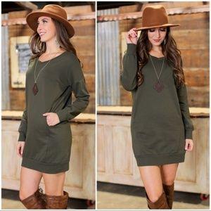 Olive Sweatshirt Dress